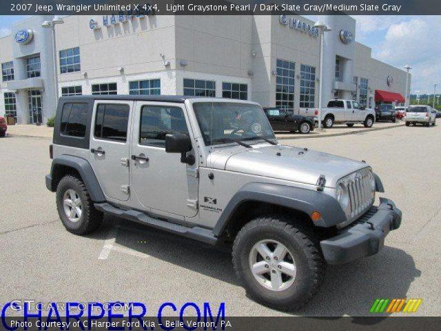 Light Graystone Pearl 2007 Jeep Wrangler Unlimited X 4x4 Dark Slate Gray Medium Slate Gray