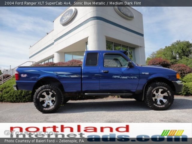 sonic blue metallic 2004 ford ranger xlt supercab 4x4 medium dark flint interior gtcarlot. Black Bedroom Furniture Sets. Home Design Ideas