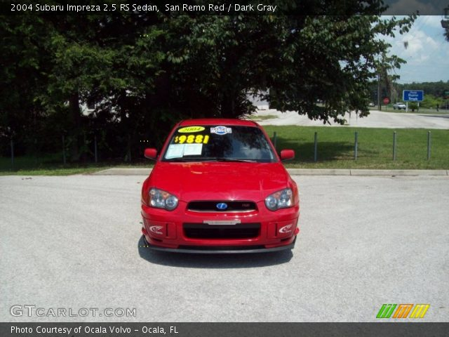 san remo red 2004 subaru impreza 2 5 rs sedan dark gray interior vehicle. Black Bedroom Furniture Sets. Home Design Ideas