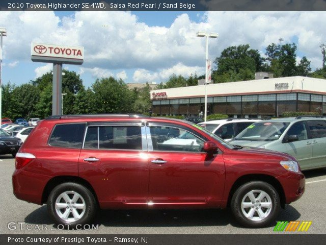 salsa red pearl 2010 toyota highlander se 4wd sand. Black Bedroom Furniture Sets. Home Design Ideas