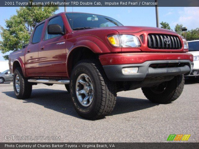 impulse red pearl 2001 toyota tacoma v6 prerunner trd double cab charcoal interior. Black Bedroom Furniture Sets. Home Design Ideas