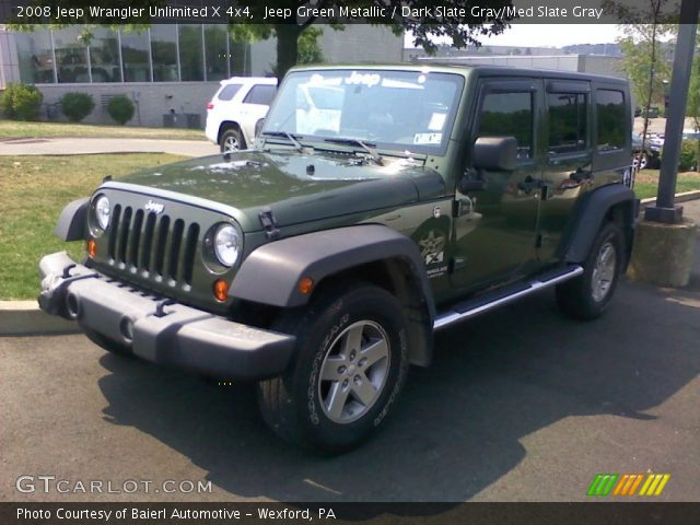 Jeep Green Metallic 2008 Jeep Wrangler Unlimited X 4x4 Dark Slate Gray Med Slate Gray