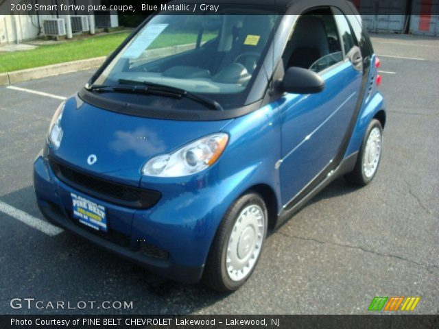 blue metallic 2009 smart fortwo pure coupe gray interior vehicle archive. Black Bedroom Furniture Sets. Home Design Ideas