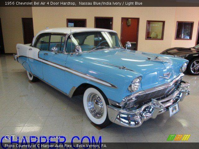 Stupendous Nassau Blue India Ivory 1956 Chevrolet Bel Air 4 Door Beutiful Home Inspiration Semekurdistantinfo