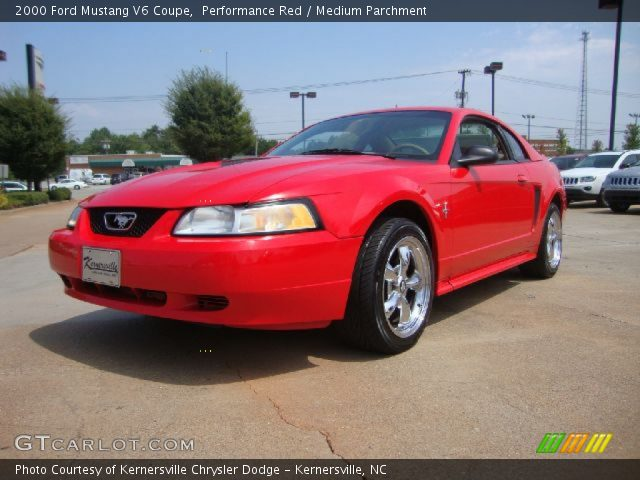 performance red 2000 ford mustang v6 coupe medium. Black Bedroom Furniture Sets. Home Design Ideas
