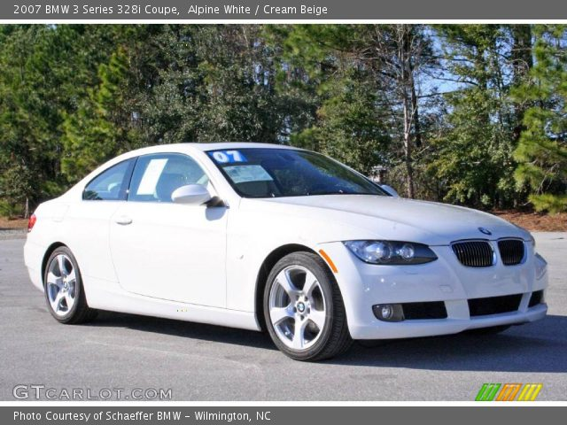 alpine white 2007 bmw 3 series 328i coupe cream beige interior vehicle. Black Bedroom Furniture Sets. Home Design Ideas