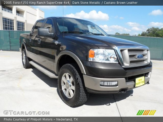 Dark Stone Metallic 2005 Ford F150 King Ranch Supercrew 4x4 Castano Brown Leather Interior