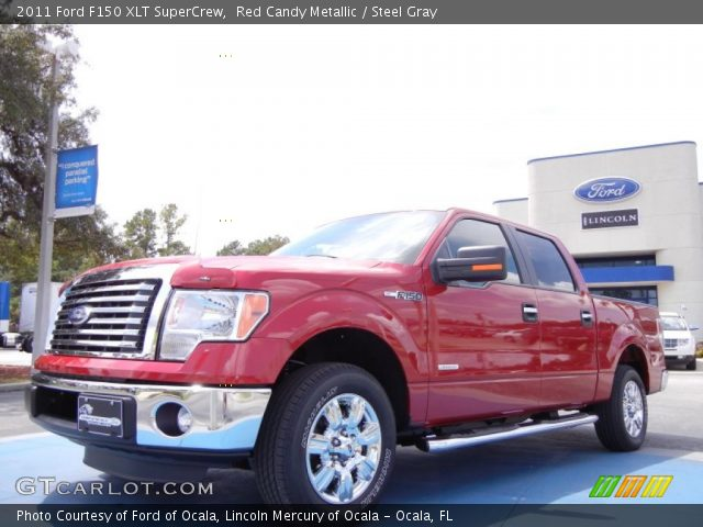 red candy metallic 2011 ford f150 xlt supercrew steel gray interior vehicle. Black Bedroom Furniture Sets. Home Design Ideas