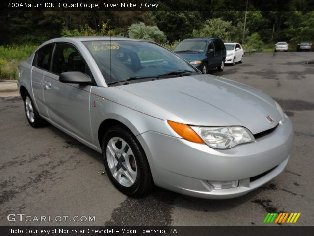 Silver Nickel 2004 Saturn Ion 3 Quad Coupe Grey Interior