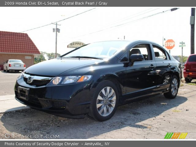 crystal black pearl 2009 honda civic ex l sedan gray interior vehicle. Black Bedroom Furniture Sets. Home Design Ideas