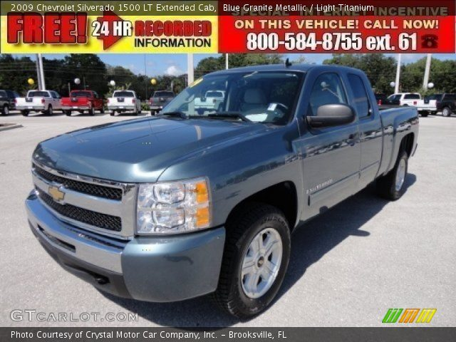 blue granite metallic 2009 chevrolet silverado 1500 lt extended cab light titanium interior. Black Bedroom Furniture Sets. Home Design Ideas