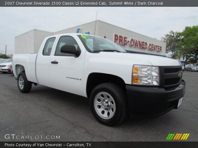 summit white 2007 chevrolet silverado 1500 classic ls extended cab dark charcoal interior. Black Bedroom Furniture Sets. Home Design Ideas