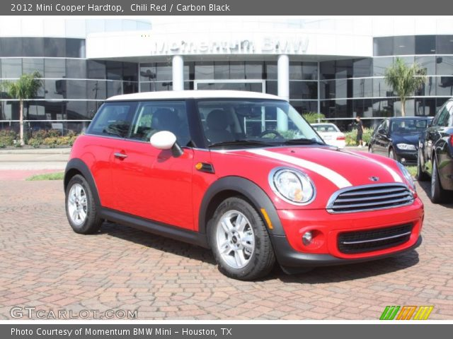 A 2012 Mini Cooper in Red with white stripes