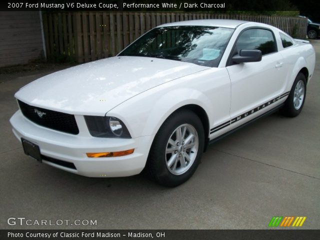 performance white 2007 ford mustang v6 deluxe coupe dark charcoal interior. Black Bedroom Furniture Sets. Home Design Ideas