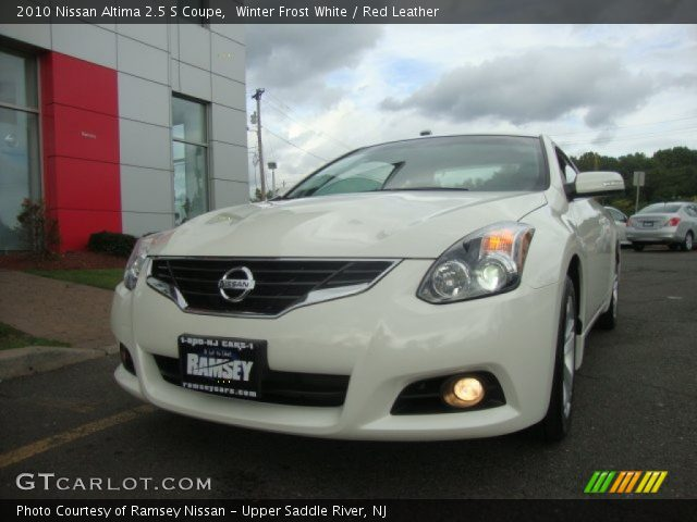 winter frost white 2010 nissan altima 2 5 s coupe red leather interior. Black Bedroom Furniture Sets. Home Design Ideas
