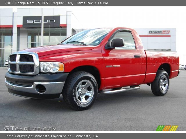 flame red 2003 dodge ram 1500 st regular cab taupe interior vehicle archive. Black Bedroom Furniture Sets. Home Design Ideas