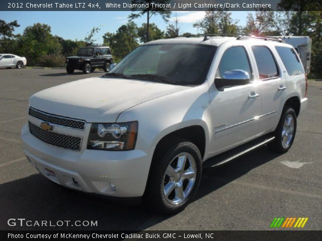 white diamond tricoat 2012 chevrolet tahoe ltz 4x4 light cashmere dark cashmere interior. Black Bedroom Furniture Sets. Home Design Ideas