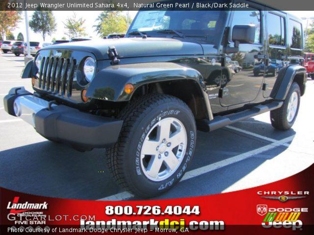 Natural Green Pearl 2012 Jeep Wrangler Unlimited Sahara 4x4 Black Dark Saddle Interior