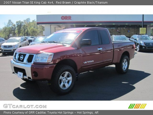 red brawn 2007 nissan titan se king cab 4x4 graphite black titanium interior. Black Bedroom Furniture Sets. Home Design Ideas
