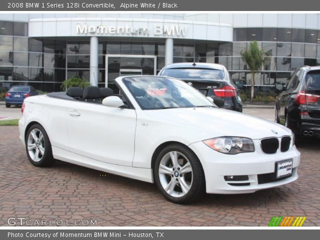 alpine white 2008 bmw 1 series 128i convertible black interior vehicle. Black Bedroom Furniture Sets. Home Design Ideas