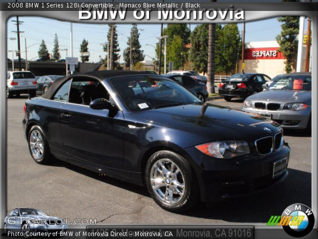 monaco blue metallic 2008 bmw 1 series 128i convertible black interior. Black Bedroom Furniture Sets. Home Design Ideas