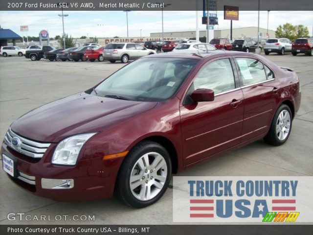 merlot metallic 2007 ford fusion sel v6 awd camel interior vehicle archive. Black Bedroom Furniture Sets. Home Design Ideas
