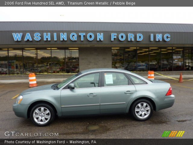 titanium green metallic 2006 ford five hundred sel awd pebble beige interior. Black Bedroom Furniture Sets. Home Design Ideas