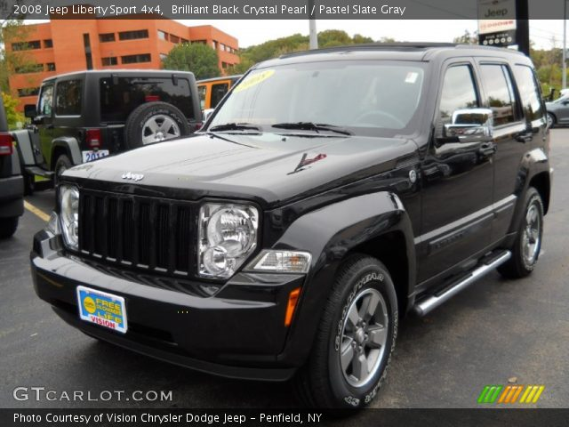 brilliant black crystal pearl 2008 jeep liberty sport 4x4 pastel slate gray interior. Black Bedroom Furniture Sets. Home Design Ideas