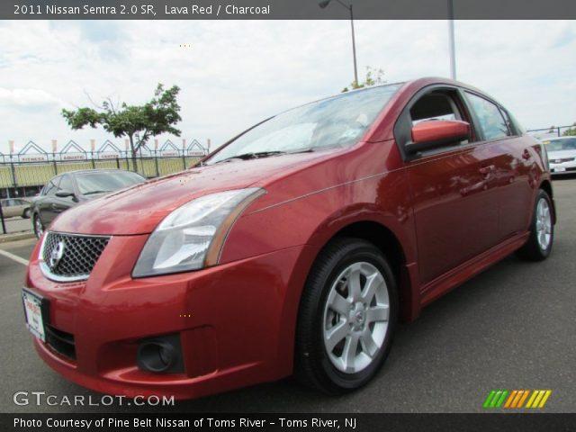 lava red 2011 nissan sentra 2 0 sr charcoal interior vehicle archive 55332753. Black Bedroom Furniture Sets. Home Design Ideas