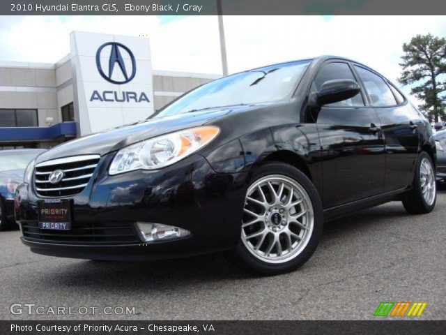 Ebony Black - 2010 Hyundai Elantra GLS - Gray Interior ...