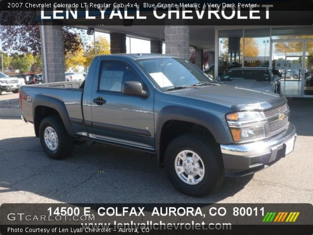 blue granite metallic 2007 chevrolet colorado lt regular cab 4x4 very dark pewter interior. Black Bedroom Furniture Sets. Home Design Ideas