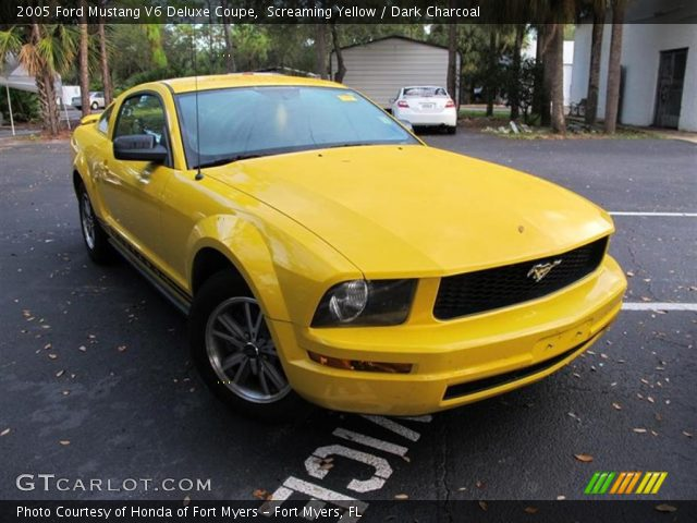 screaming yellow 2005 ford mustang v6 deluxe coupe. Black Bedroom Furniture Sets. Home Design Ideas