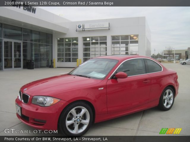 crimson red 2008 bmw 1 series 128i coupe savanna beige interior vehicle. Black Bedroom Furniture Sets. Home Design Ideas