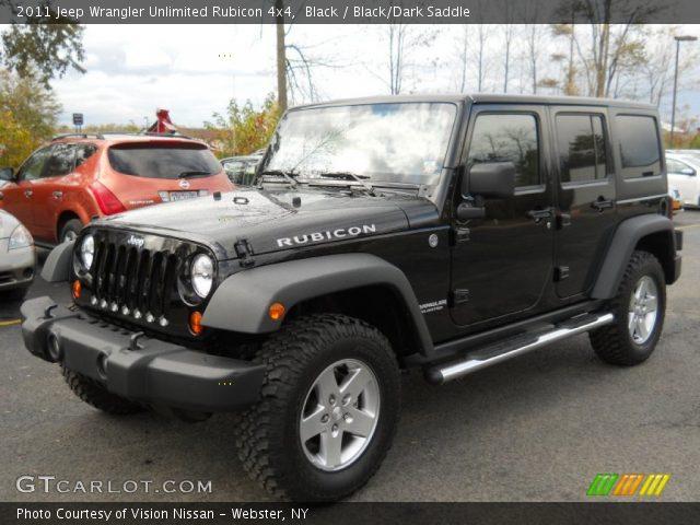 Black 2011 Jeep Wrangler Unlimited Rubicon 4x4 Black Dark Saddle Interior