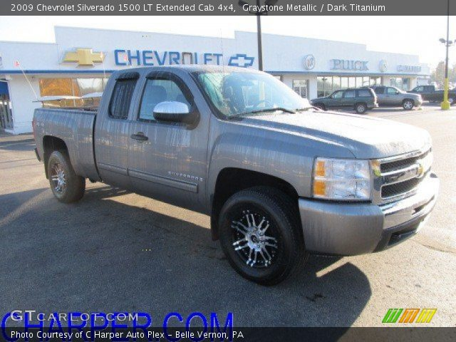 graystone metallic 2009 chevrolet silverado 1500 lt extended cab 4x4 dark titanium interior. Black Bedroom Furniture Sets. Home Design Ideas
