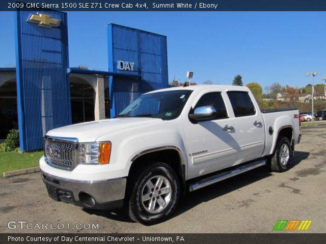 summit white 2009 gmc sierra 1500 sle z71 crew cab 4x4 ebony interior. Black Bedroom Furniture Sets. Home Design Ideas