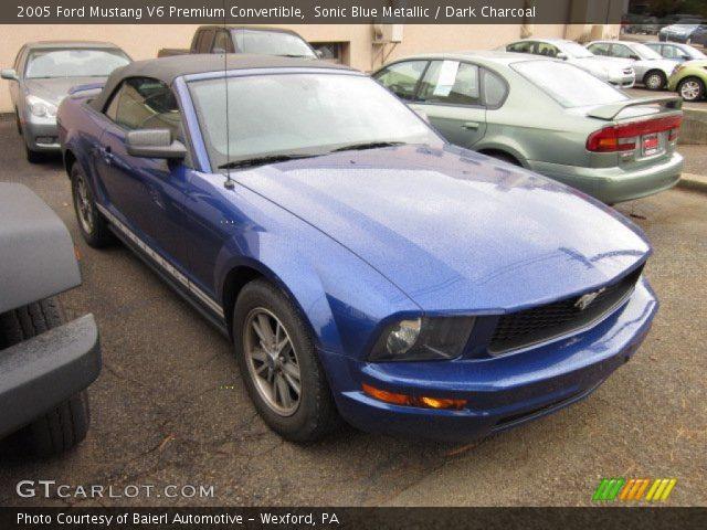 Sonic Blue Metallic 2005 Ford Mustang V6 Premium Convertible Dark Charcoal Interior