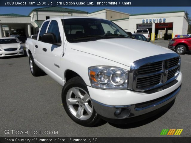 bright white 2008 dodge ram 1500 big horn edition quad cab khaki interior. Black Bedroom Furniture Sets. Home Design Ideas