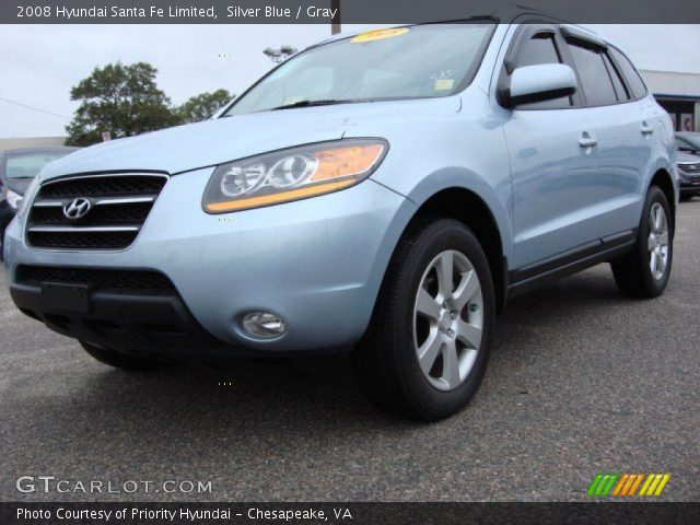 silver blue 2008 hyundai santa fe limited gray interior vehicle archive. Black Bedroom Furniture Sets. Home Design Ideas