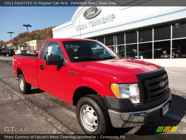vermillion red 2011 ford f150 xl regular cab 4x4 steel gray interior. Black Bedroom Furniture Sets. Home Design Ideas