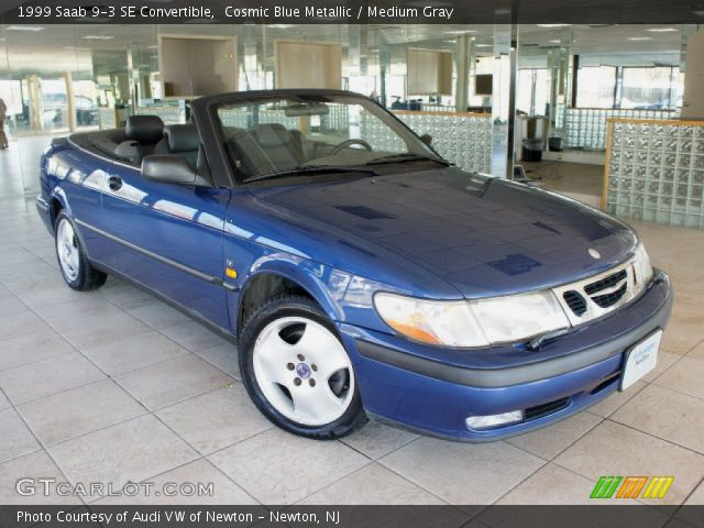 cosmic blue metallic 1999 saab 9 3 se convertible medium gray interior. Black Bedroom Furniture Sets. Home Design Ideas