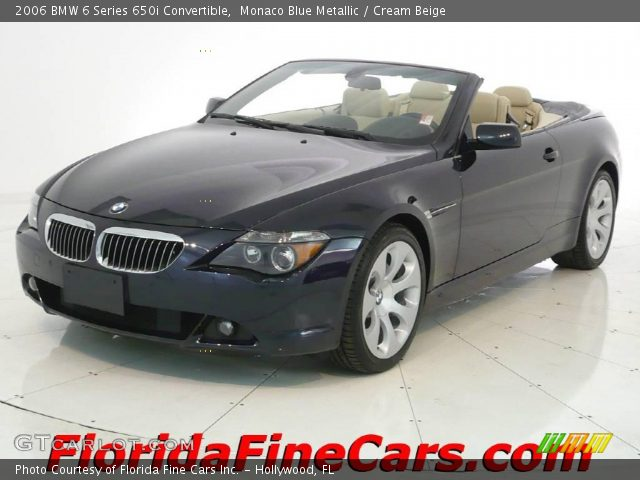 monaco blue metallic 2006 bmw 6 series 650i convertible cream beige interior. Black Bedroom Furniture Sets. Home Design Ideas