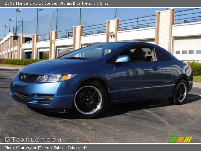 atomic blue metallic 2009 honda civic lx coupe gray