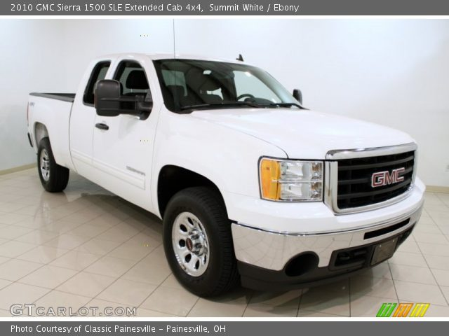 summit white 2010 gmc sierra 1500 sle extended cab 4x4 ebony interior. Black Bedroom Furniture Sets. Home Design Ideas