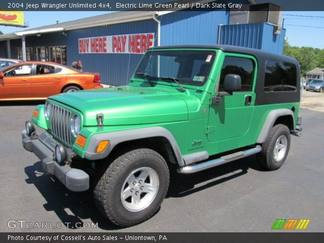electric lime green pearl 2004 jeep wrangler unlimited 4x4 dark slate gray interior. Black Bedroom Furniture Sets. Home Design Ideas