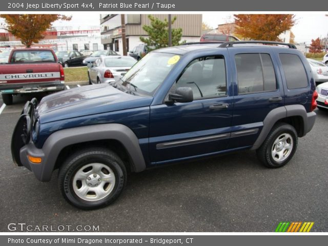 patriot blue pearl 2004 jeep liberty sport 4x4 taupe interior vehicle. Black Bedroom Furniture Sets. Home Design Ideas