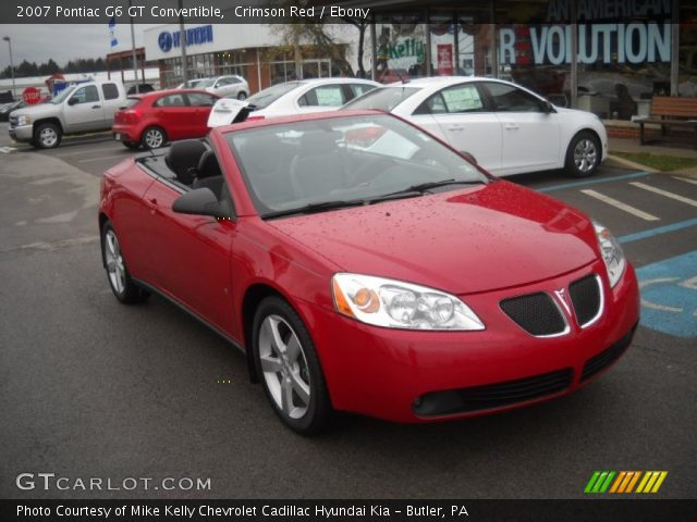 crimson red 2007 pontiac g6 gt convertible ebony interior vehicle archive. Black Bedroom Furniture Sets. Home Design Ideas