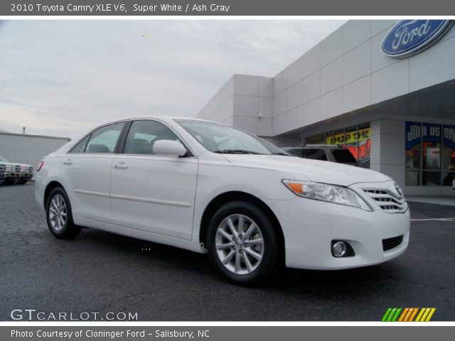 super white 2010 toyota camry xle v6 ash gray interior vehicle archive. Black Bedroom Furniture Sets. Home Design Ideas