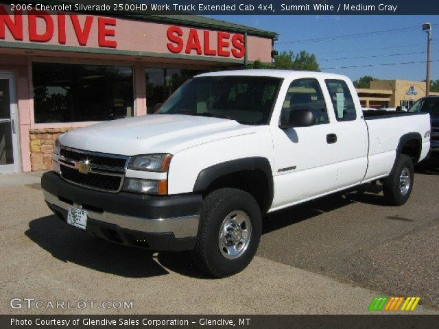 summit white 2006 chevrolet silverado 2500hd work truck extended cab 4x4 medium gray. Black Bedroom Furniture Sets. Home Design Ideas