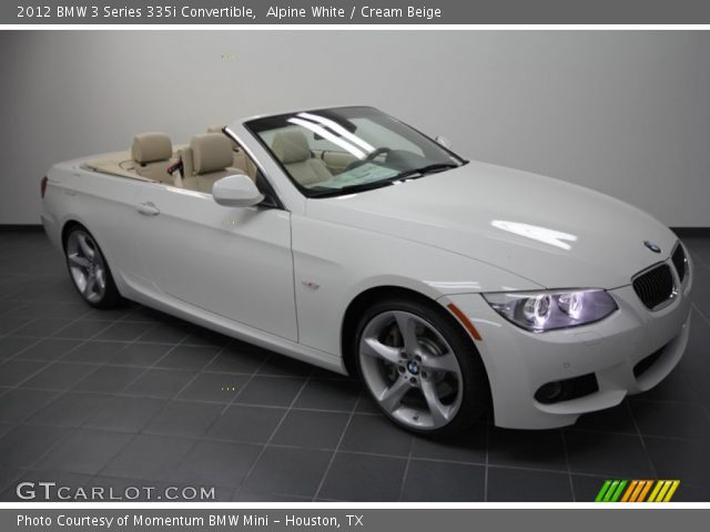 Alpine white 2012 bmw 3 series 335i convertible cream beige interior for White bmw with red interior for sale